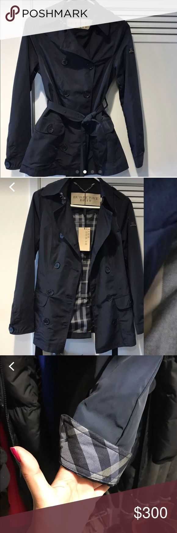 FINAL PRICE Lightweight Burberry Navy trench XS Pre owned but excellent condition. No tags though (took this photo before they came off). This is a lightweight trench purchased at Las Vegas Burberry outlet store. Burberry tends to run small so this fits true to size XS from Burberry. Selling because it's too cold where I live to really get good use out of this and need to pay for holiday bills :-/ PRICE FIRM Burberry Jackets & Coats Trench Coats