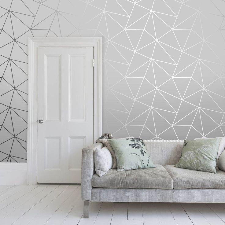 Zara Shimmer Metallic Wallpaper Soft Grey Silver Grey