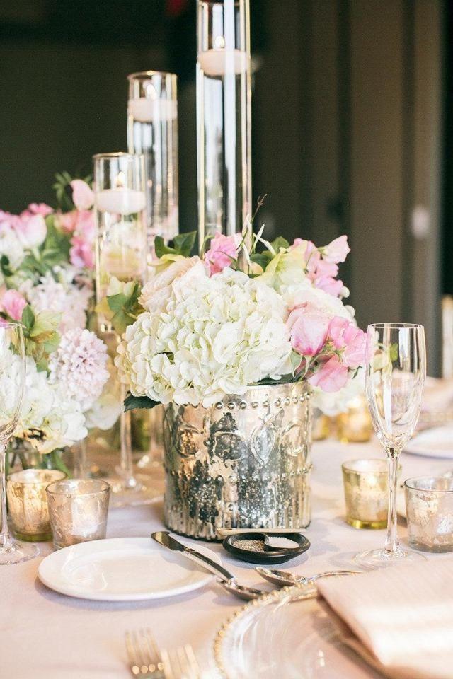 Awesome hochzeit fr hling tischdeko hortensien rosen kerzen
