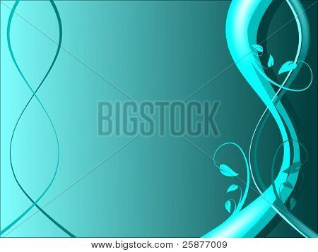A Cyan Abstract Floral Background Illustration On A Darker Graduated Background In Landscape Orientation With Room For Text Poster Poster Landscape Abstract