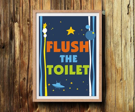 Perfect kids reminder for your bathroom wall. Flush the toilet. Printable bathroom rules. This listing is for an 5'X7' instant download by ArtMii