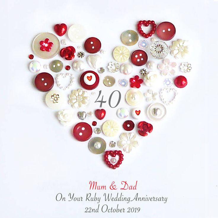 Personalised Ruby Anniversary Heart Art