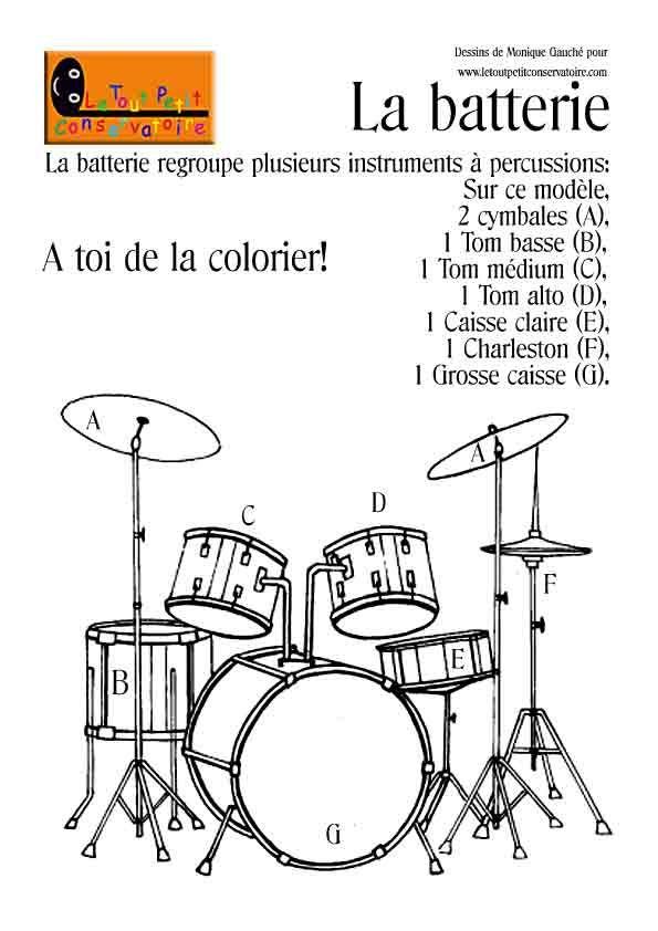 Dessin, coloriage de la batterie, instrument de musique à percussions.