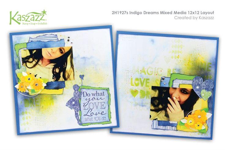 2H1927s Indigo Dreams Mixed Media 12x12 Layout