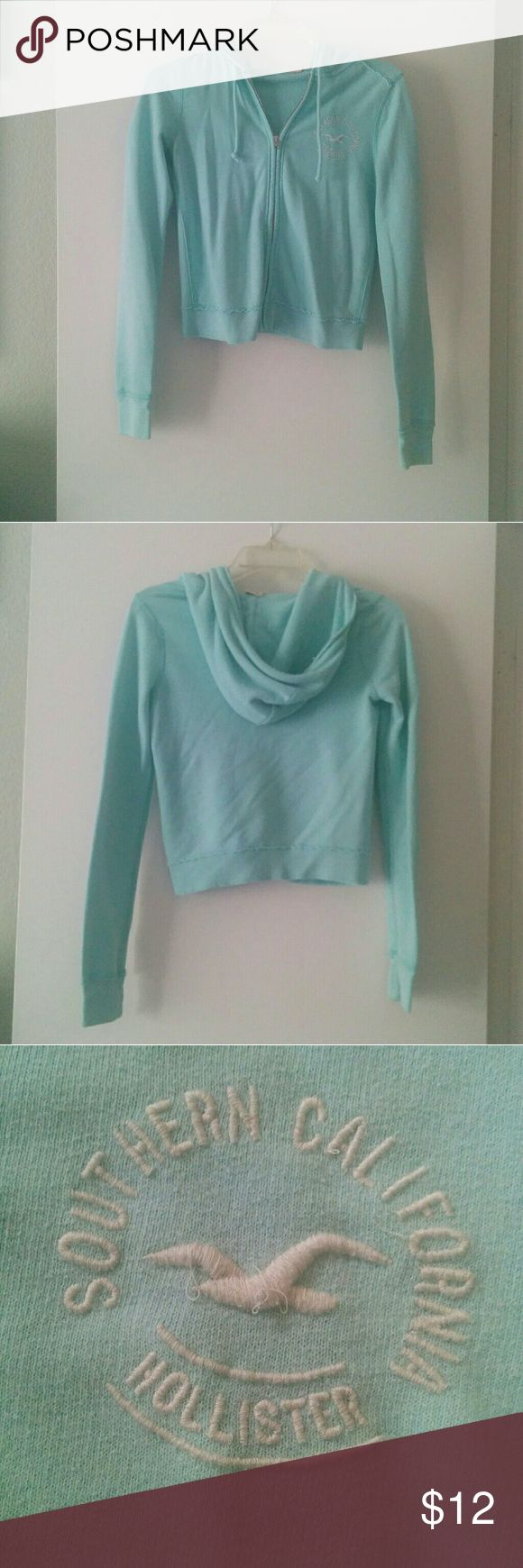 Hollister Light Blue Zip Up Hoodie Used Feel free to negotiate Hollister Jackets & Coats