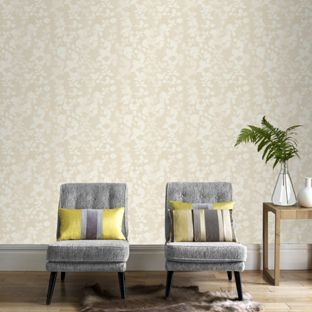 Home of colour symphony wallpaper gold from homebase for Living room ideas homebase