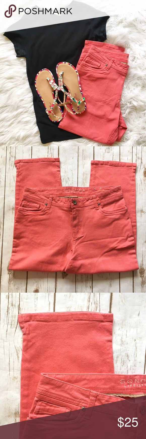 """Coral Capris from Sonoma☀️ Good condition coral capris from Sonoma. The style is modern fit and size 12. Capris do have small slits on the side of both legs. Fabric content is 98% cotton and 2% spandex   Measurements approximately: 🎀Leg Opening laying flat: 8""""  🎀Waist: 34""""  🎀Inseam: 24""""  🎀Front Rise: 10.5""""  🎀Back Rise: 15"""" Sonoma Pants Capris"""