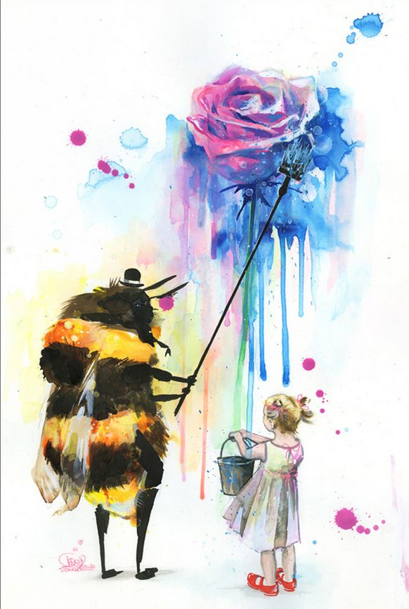 Bumblebee wall mural by lora zombie