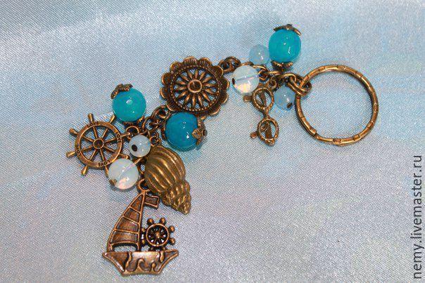 """Купить Брелок для ключей """"Морское путешествие"""" - разноцветный, однотонный, брелок, брелок для ключей, брелоки"""