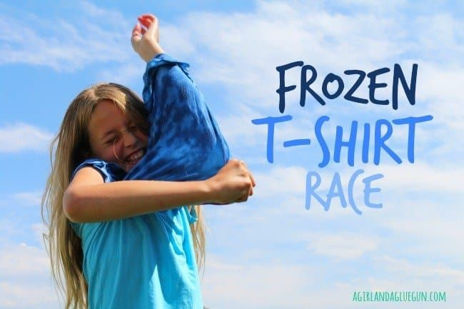 "Soak a bunch of t-shirts in water, place them in plastic bags, and then stick them in the freezer overnight. The next day, hold a race to see who can ""defrost"" and pull on a frozen t-shirt the quickest. This is a great choice to play on a sweltering day--you'll want to keep the chilly t-shirt on even after the race is over!Full instructions at A Girl and a Glue Gun."