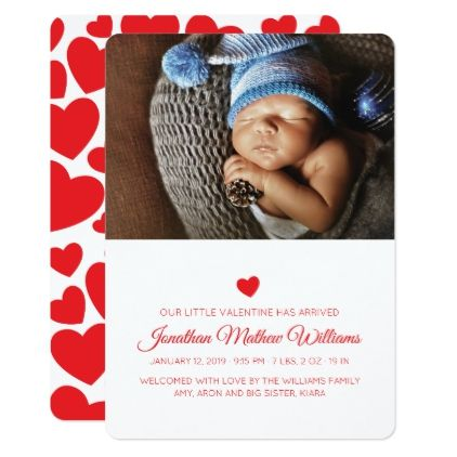 Our Little Valentine Red Hearts Birth Announcement