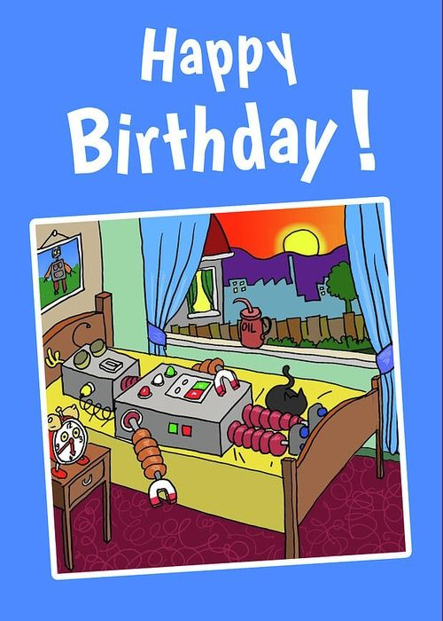 Luv U ❤︎ Luv Me Happy Birthday card ... Robbie Robot wishes you a very Happy Birthday!