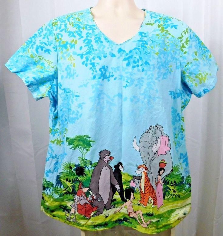 Disneys The Jungle Book Womens Scrub Top 2XL Blue 100% Cotton Side Pockets #Disney