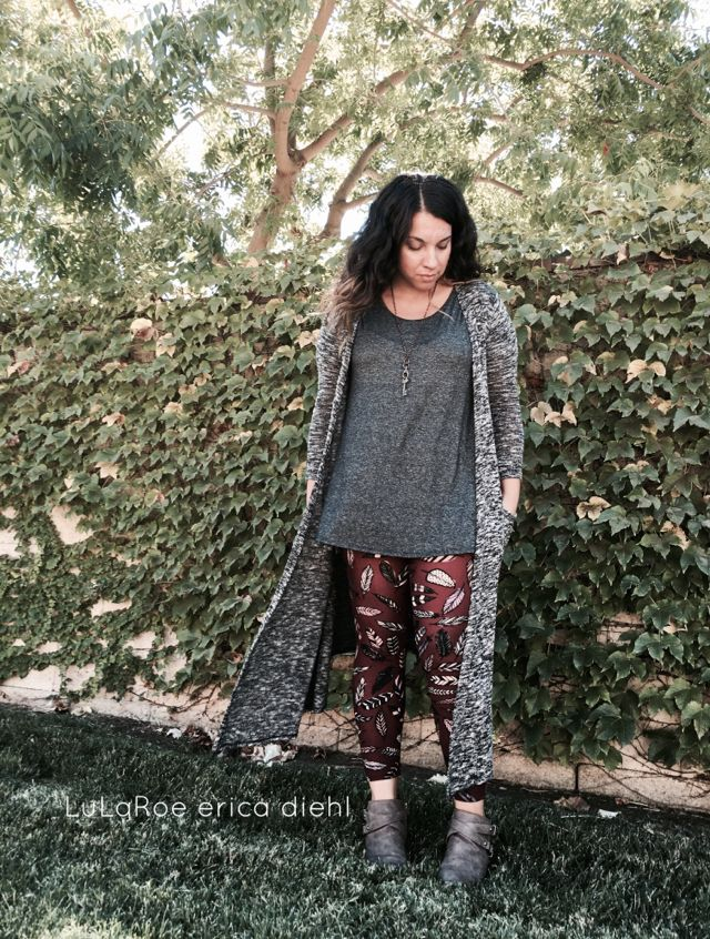 LuLaRoe Erica Diehl - LuLaRoe consultant coming soon! Perfect fall outfit: feather leggings, perfect tee and Sarah cardigan. Style inspirations.     {OS leggings . S Perfect Tee . XS Sarah cardigan}     #lularoe #lularoeoutfits #unicorn #leggings #sarah #fall #feathers #perfecttee #fashion