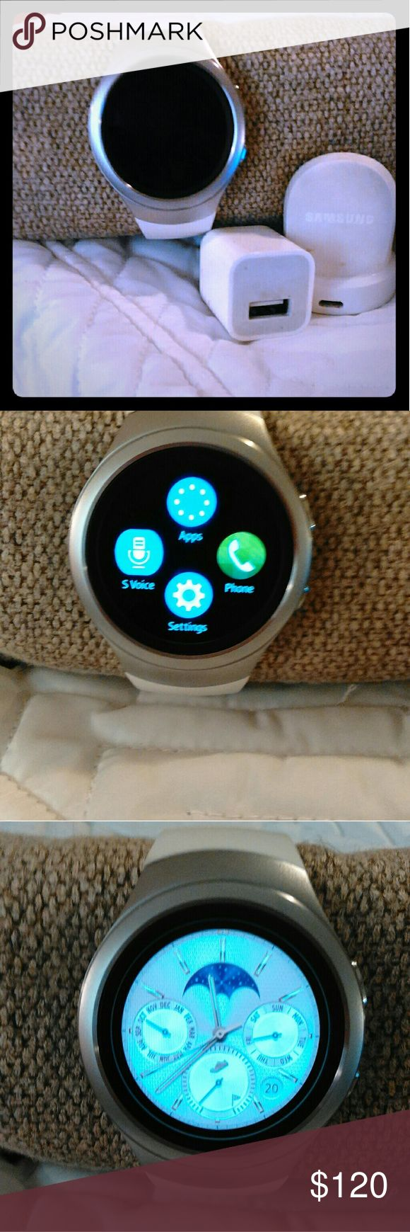 Samsung Gear 2 Watch As shown, excellent condition, Comes with everything shown,(not shown is extra long cable that connects to  charger..) pairs via Bluetooth  with newer androids and by downloading the Gear App.. Samsung Accessories Watches