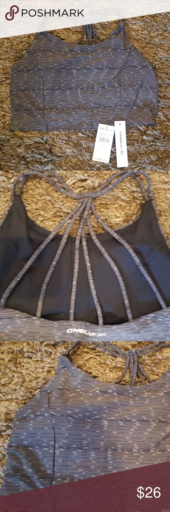 O'Neill Strappy Sports Bra O'Neill Marled Gray Strappy Sports Bra with Medium Support Very comfy pullover style  Size Large NWT O'Neill Intimates & Sleepwear Bras