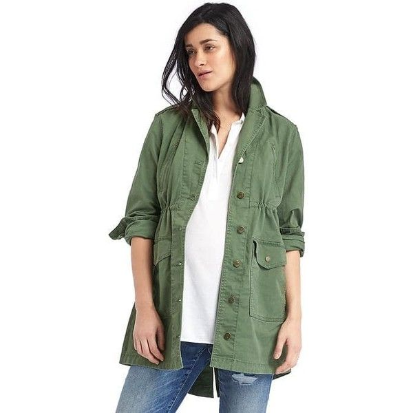 Gap Women Utility Jacket ($98) ❤ liked on Polyvore featuring outerwear, jackets, jungle green, regular, straight jacket, gap jackets, green drawstring jacket, green jacket and utility jacket