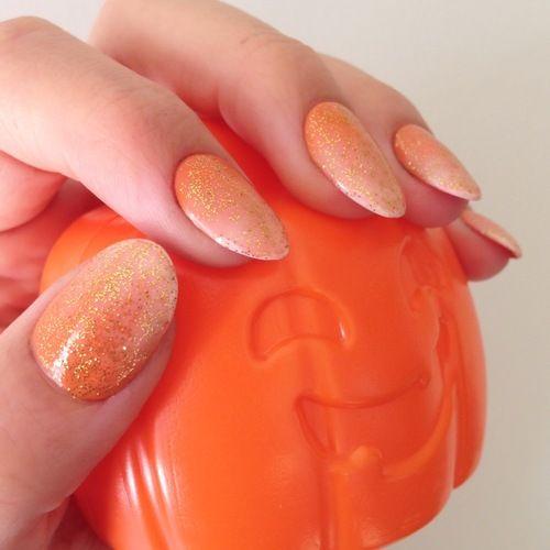 Orange to White Glitter Ombre Nails | Beauty School ...