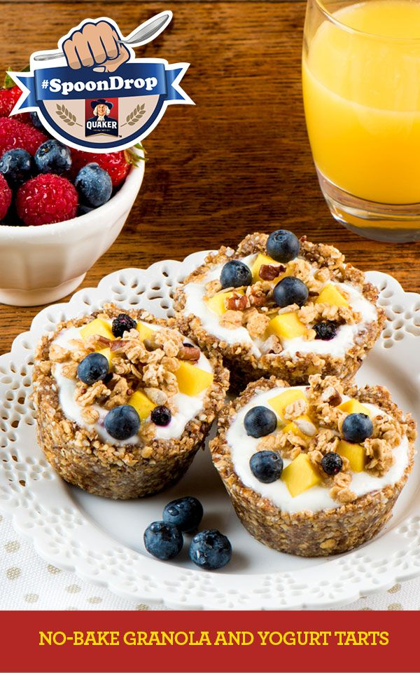 Own Mornings. #SpoonDrop  These tarts are a tasty way to enjoy granola and yogurt as part of a complete breakfast. Keep the tart shells ready to go in the freezer for quick and easy assembly. Full Recipe: http://www.quakeroats.ca/recipes/no-bake-granola-and-yogurt-tarts