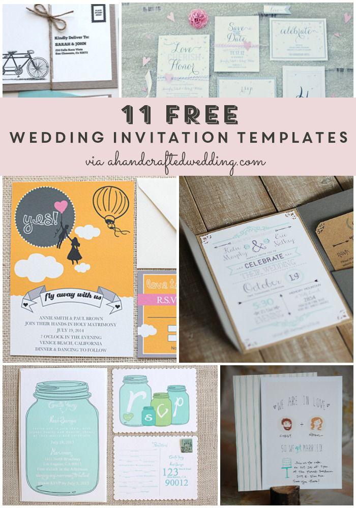 DIY Brides PIN this! 11 #FREE #Printable Wedding Invitation Templates! #wedding