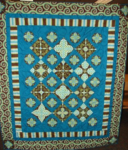 Brown and teal mirror block stack and whack quilt Teal mirrors, Kaleidoscope quilt and Fabrics