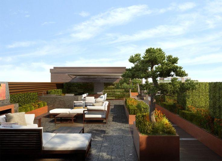 moderne dachterrasse mit ppiger aber strukturierter bepflanzung dach pinterest rooftop. Black Bedroom Furniture Sets. Home Design Ideas