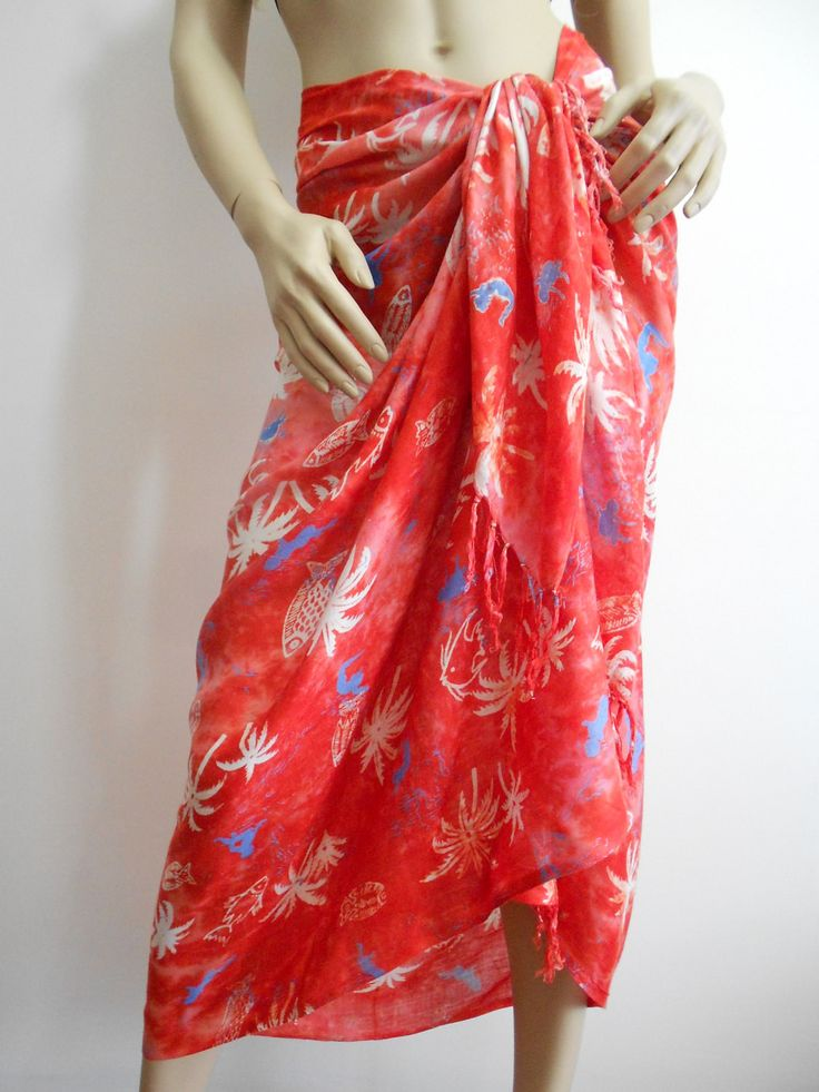ScarfCluBRed Beach Cover up Swimsuit cover up Red Pareo Sarong  www.scarfclub.net