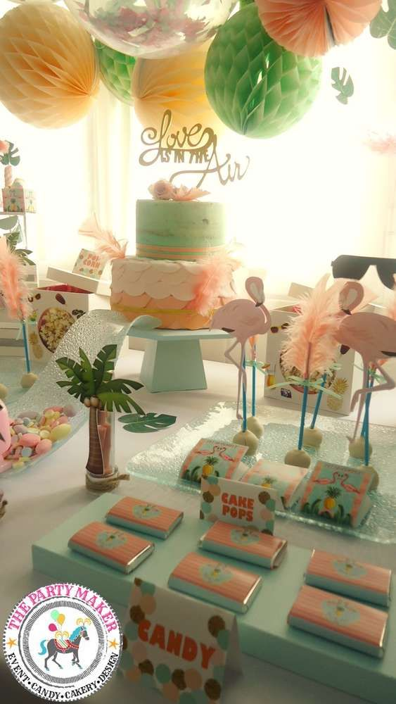 Flamingo birthday party! See more party ideas at CatchMyParty.com!