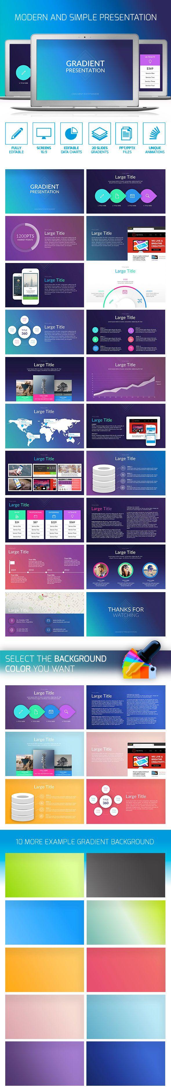Gradient PowerPoint Presentation Template #design #slides Download: http://graphicriver.net/item/gradient-presentation/13211383?ref=ksioks