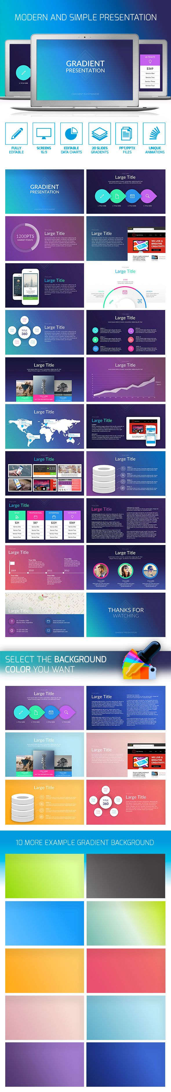 Gradient PowerPoint Presentation Template #design #slides Download: http://graphicriver.net/item/gradient-presentation/13211383?ref=ksioks