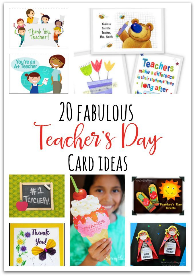20 Awesome Teachers' Day card Ideas with Free Printables! - Print & personalize thank-you cards that kids can make and Teachers will love! Perfect for National Teacher Appreciation Week and as end of school Teacher appreciation tags.
