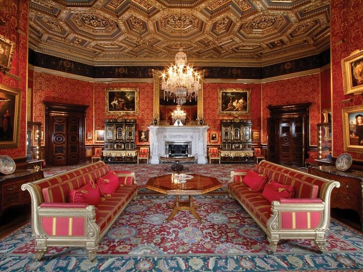 Alnwick Castle Drawing Room   Pure silk tissue in crimson and gold redrawn from remaining evidence from the early 19th Century Drawing Room walling. This fabric was used to refurbish the window drapes, walling and some of the rooms seat furniture.