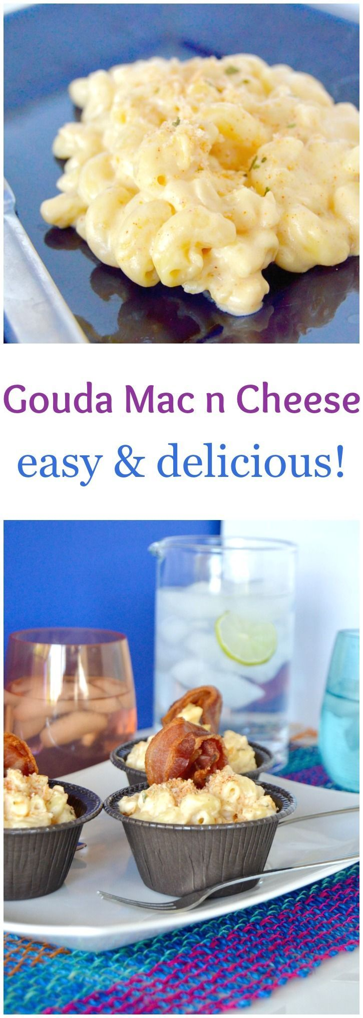 """This Gouda mac n Cheese actually has 2 kinds of gouda and a surprise cheese too! The creamy, smokiness of the gouda combined with the more """"tart"""" goat cheese will become a family favorite! (the fact that it takes less than 20 minutes to make is a bonus too!)"""