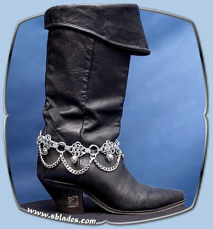 Chainmail & More Diamond ankle & bootchain, Handmade chainmail jewelry with bells & chains