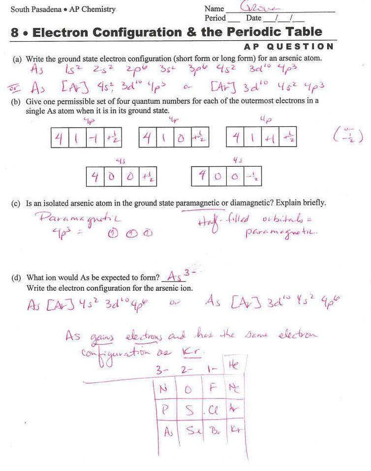 Quantum Numbers Practice Worksheet 34 Quantum Numbers