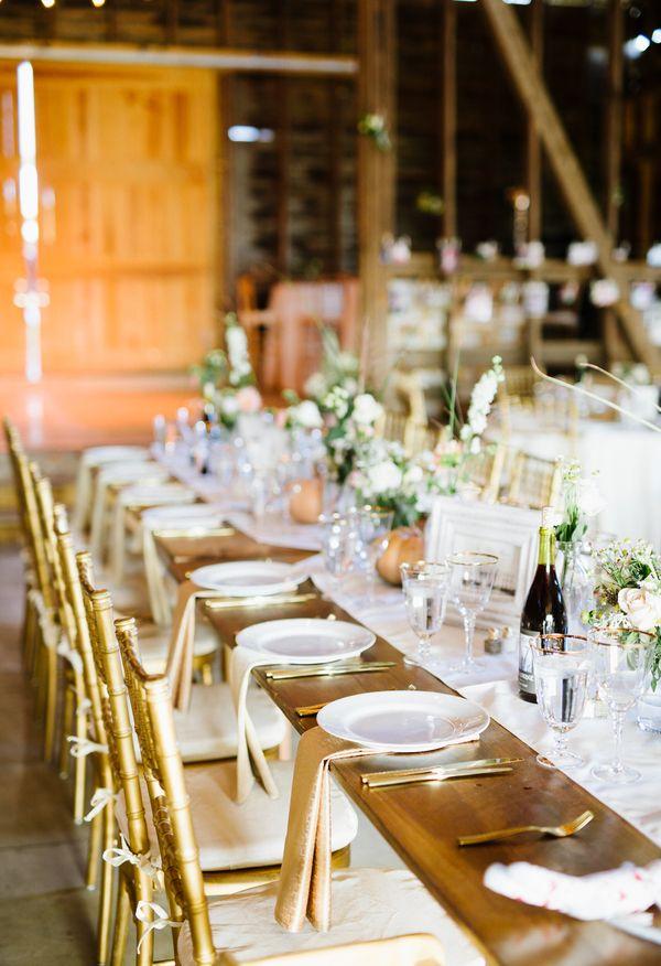 Gold Chairs And Utensils, Elegant Barn Reception, White Florals // Robert  Radifera Photography