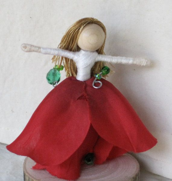 Flower Fairy Doll  Red and White Rose Art by TracysGardenFairies, $17.50
