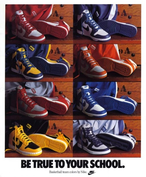 Wow, the original Nike Dunk promo. Awesome stuff. Funny how Georgetown is featured in the ad but those aren't Dunks... Big Nikes I believe