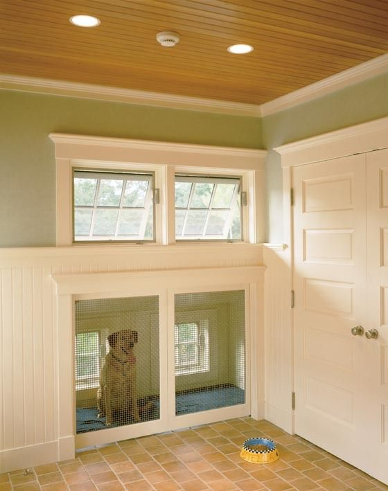 found on gardenweb indoor dog kennel bet the dog likes the windows and the