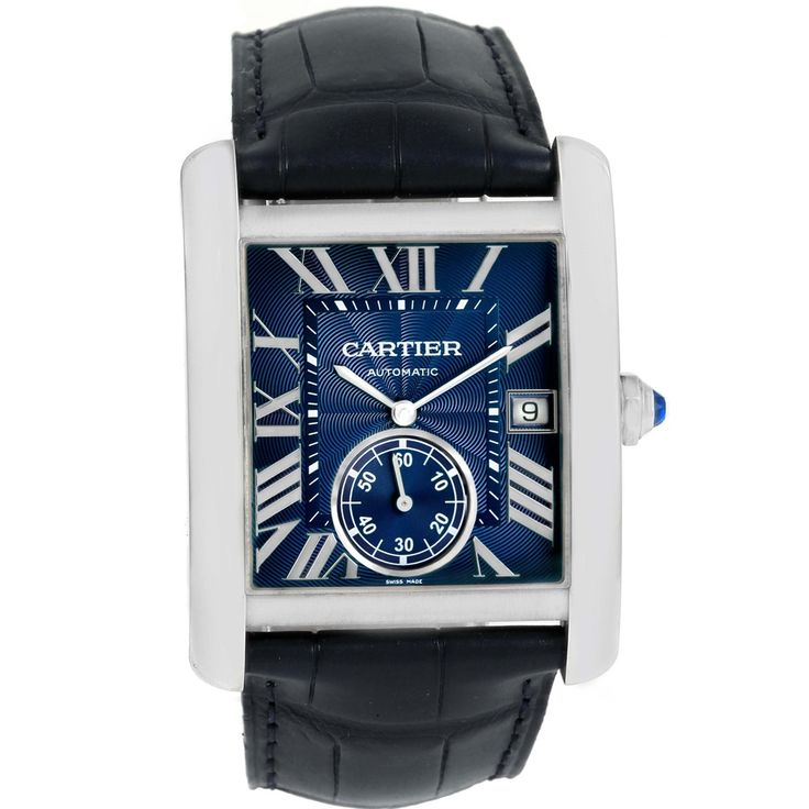 15118 Cartier Tank MC Blue Dial Automatic Mens Watch WSTA0010 SwissWatchExpo