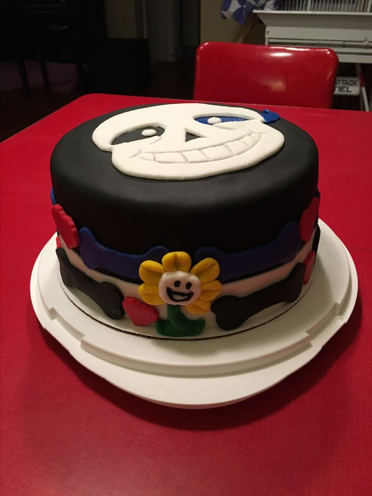 Undertale Birthday Cake!  Sans and Flowey!
