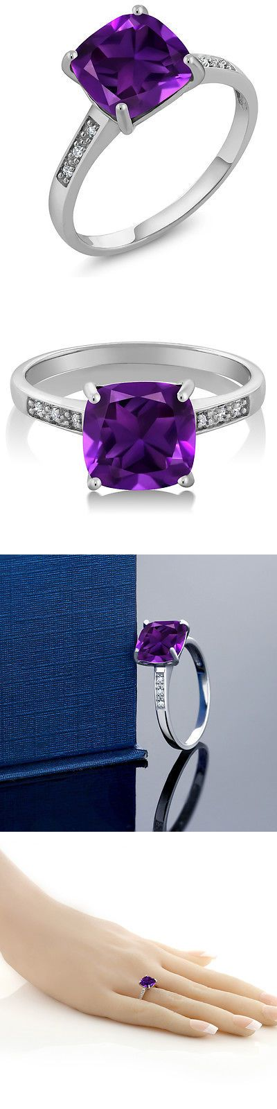 Gemstone 164343: Womens 10K White Gold Cushion 8Mm Purple Amethyst And Diamond Ring BUY IT NOW ONLY: $124.99