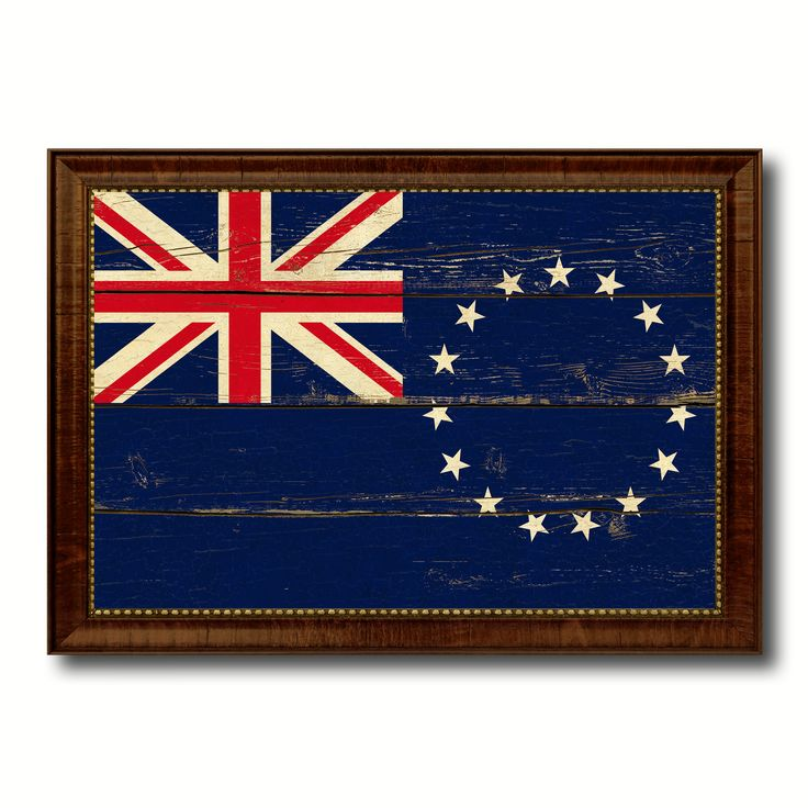 Cook Islands Country Flag Vintage Canvas Print with Brown Picture Frame Home Decor Gifts Wall Art Decoration Artwork