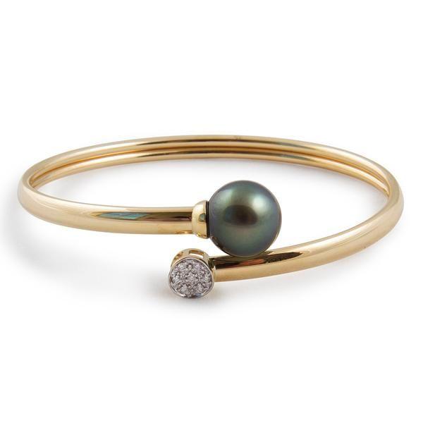 Tahitian Pearl Jewellery - 18K Yellow Gold, Tahitian Cultured Black Pearl and Diamond Bangle