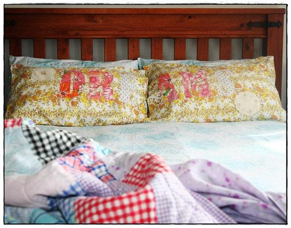 DREAMS  appliqued shabby chic vintage pillowcase by tasha2shoes, $29.99