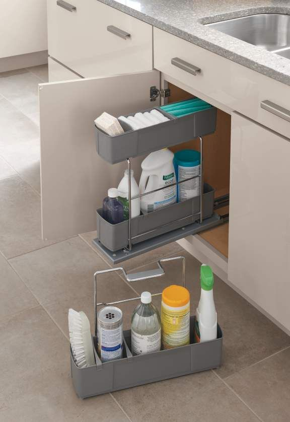 The space under your sink won't be so dark and scary once it's tidy! Organized cleaning products are not only easier on the eye, they're also easier to access. Martha Stewart Living is available at @homedepot.