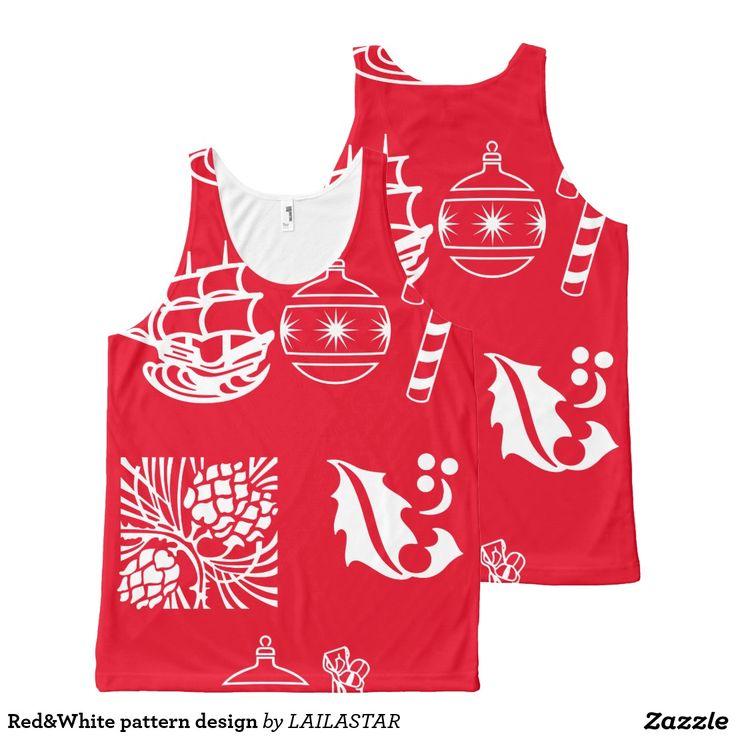 Red&White pattern design Komplett Bedrucktes Tanktop