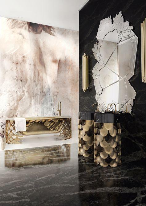 Koi Freestand by Maison Valentina   KOI is the Japanese word for love or affection, making the carp also a symbol of love and friendship.   http://www.bocadolobo.com/ #bathroom  #luxurybathroom #luxurybathroomideas #luxuryfurniture #interiordesign #luxurydesign #homedecor #designdetails