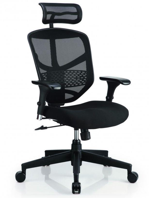 Эргономичное операторское кресло Comfort Seating Enjoy Budget с обивкой из черной сетки и ткани, анатомической спинкой с поясничной поддержкой, регулируемыми подлокотниками и подголовником, асинхронным механизмом качания и металлической крестовиной. Интернет-магазин Альтек Мебель - https://altekmebel.com.ua