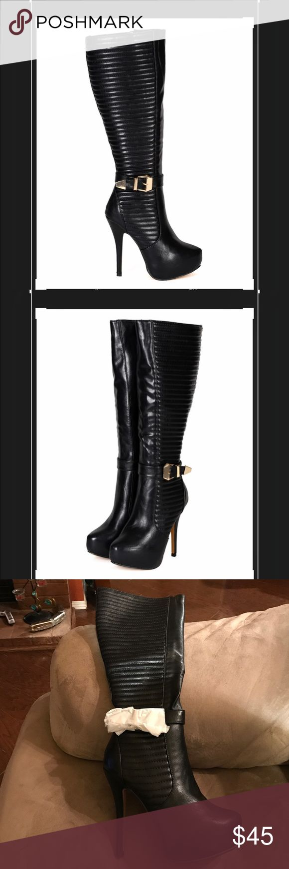 Brand New! Black knee high boots Sexy Black quilted faux leather heels with gold buckle detail,  full zipper on inside of each leg and approximately 5 inch heel and 2 inch platform. New in original packaging, never been worn. nature breeze  Shoes Heeled Boots